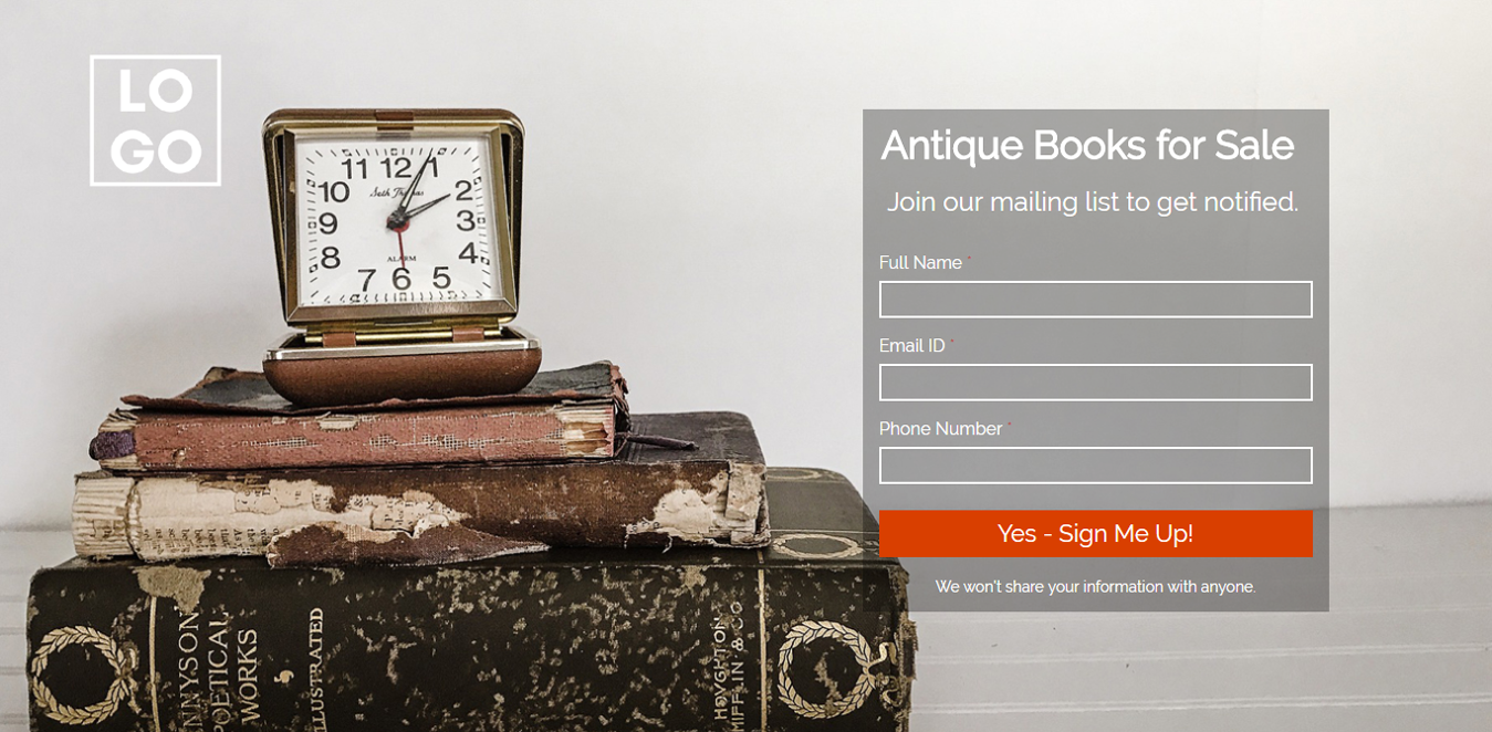 Antique Books for Sale Landing Page Template