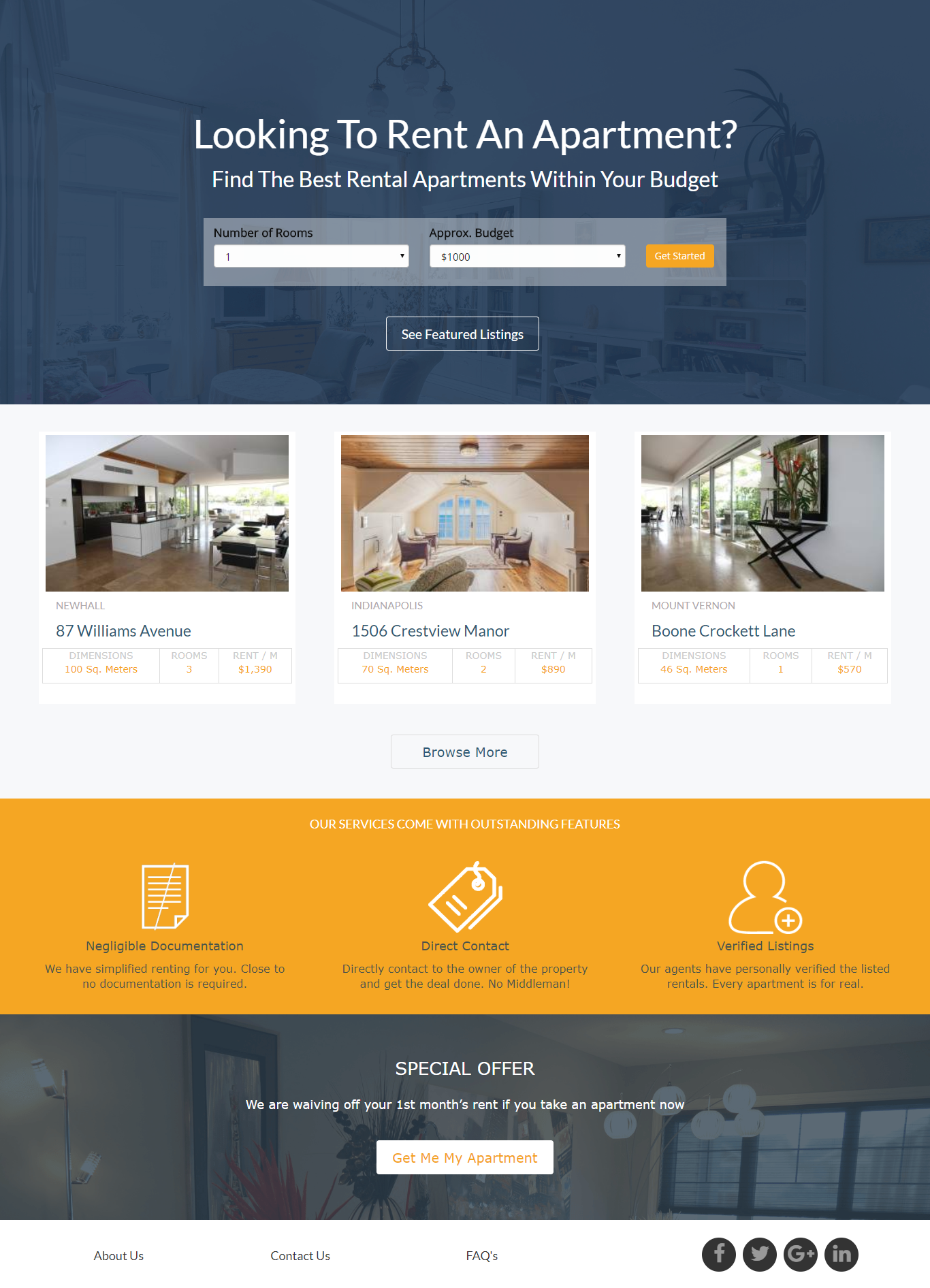Apartments For Rent Landing Page Template