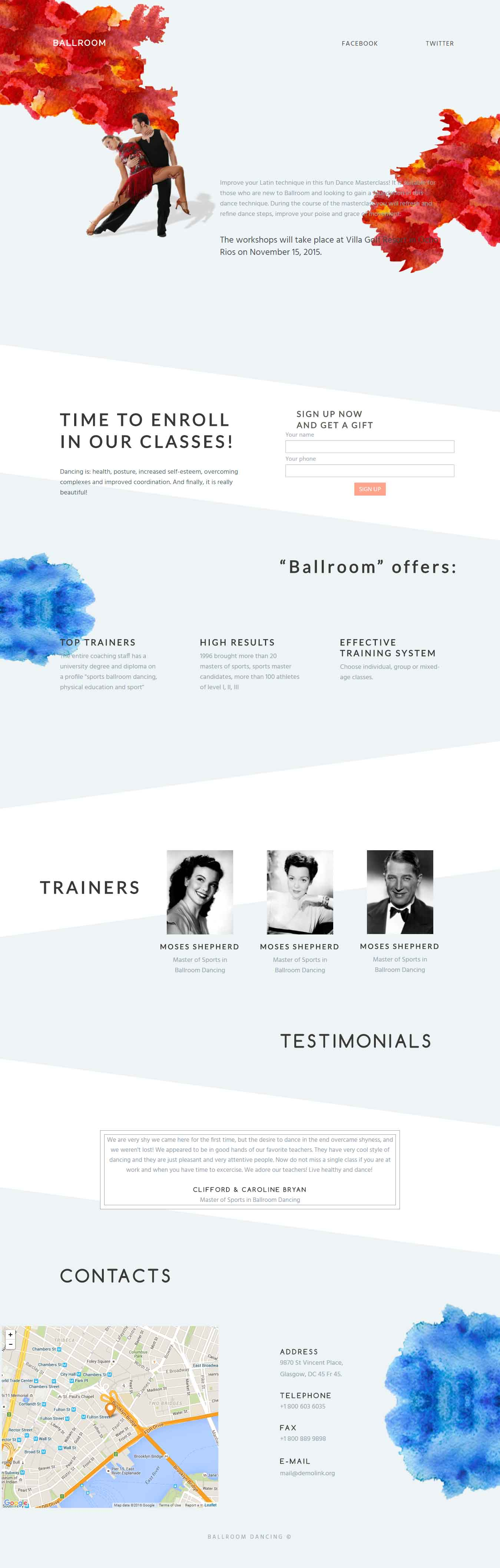Ball Room Workshop Landing Page Template