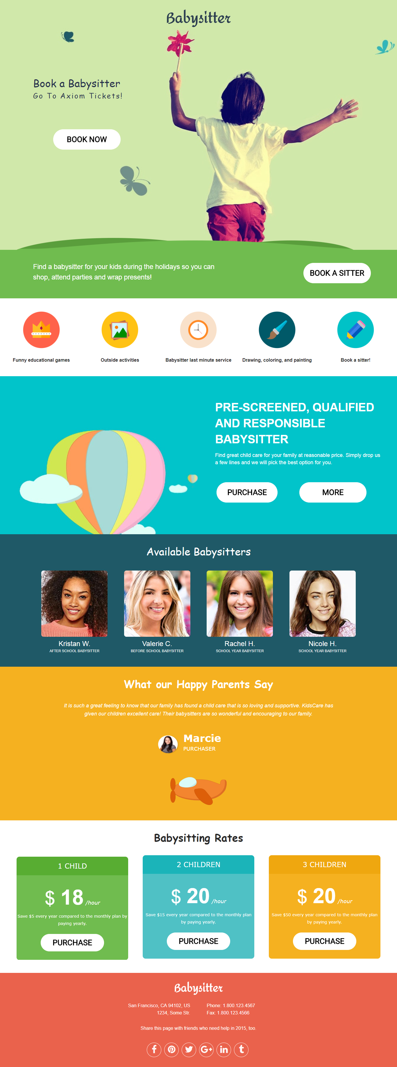 Book A Babysitter Landing Page Template