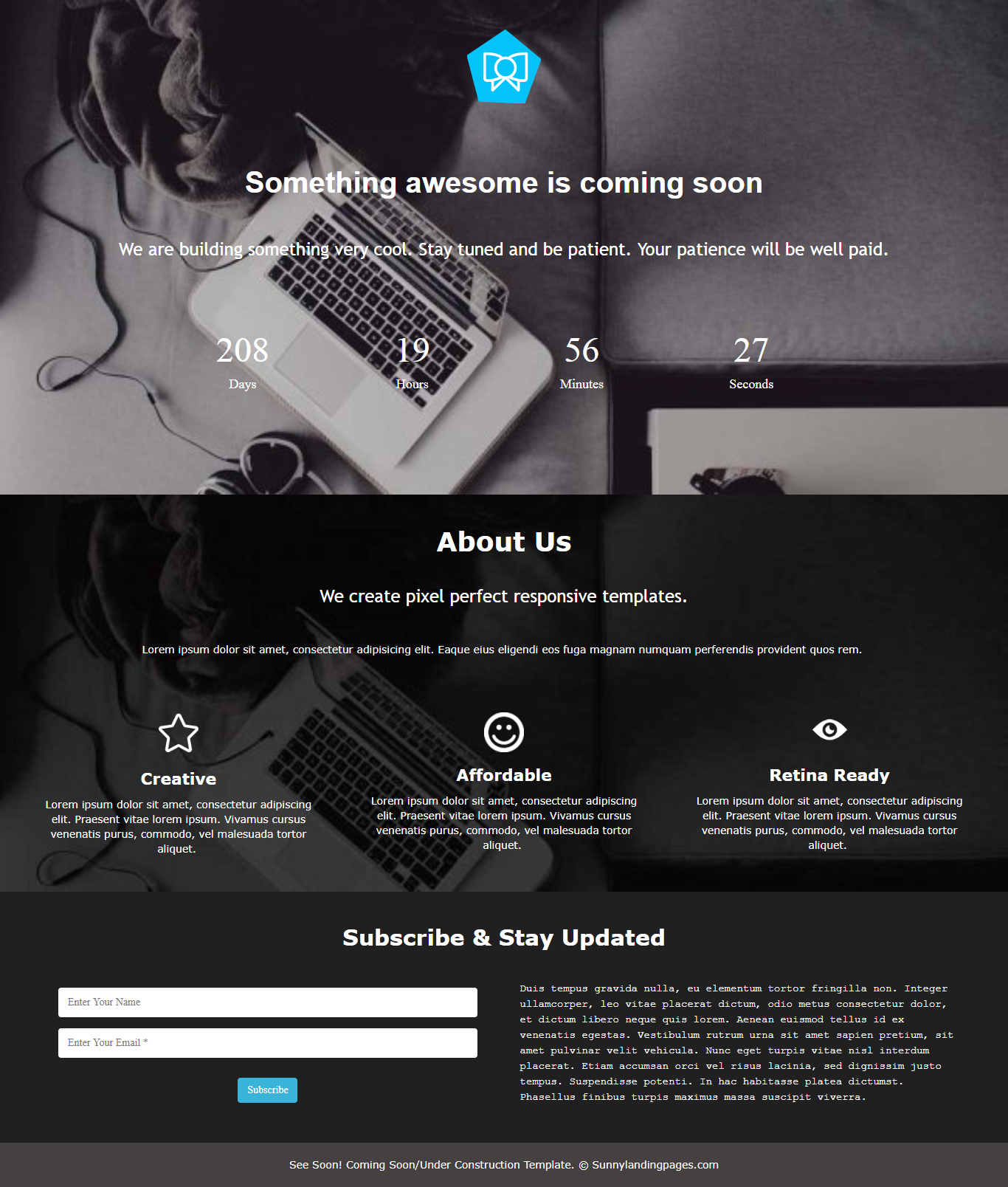 Counter time landing page template