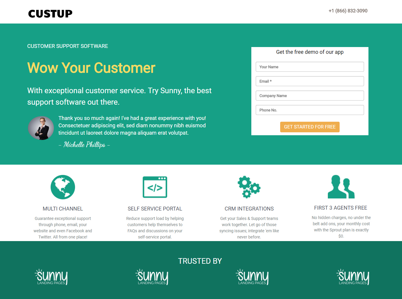 Customer Support Landing Page Template