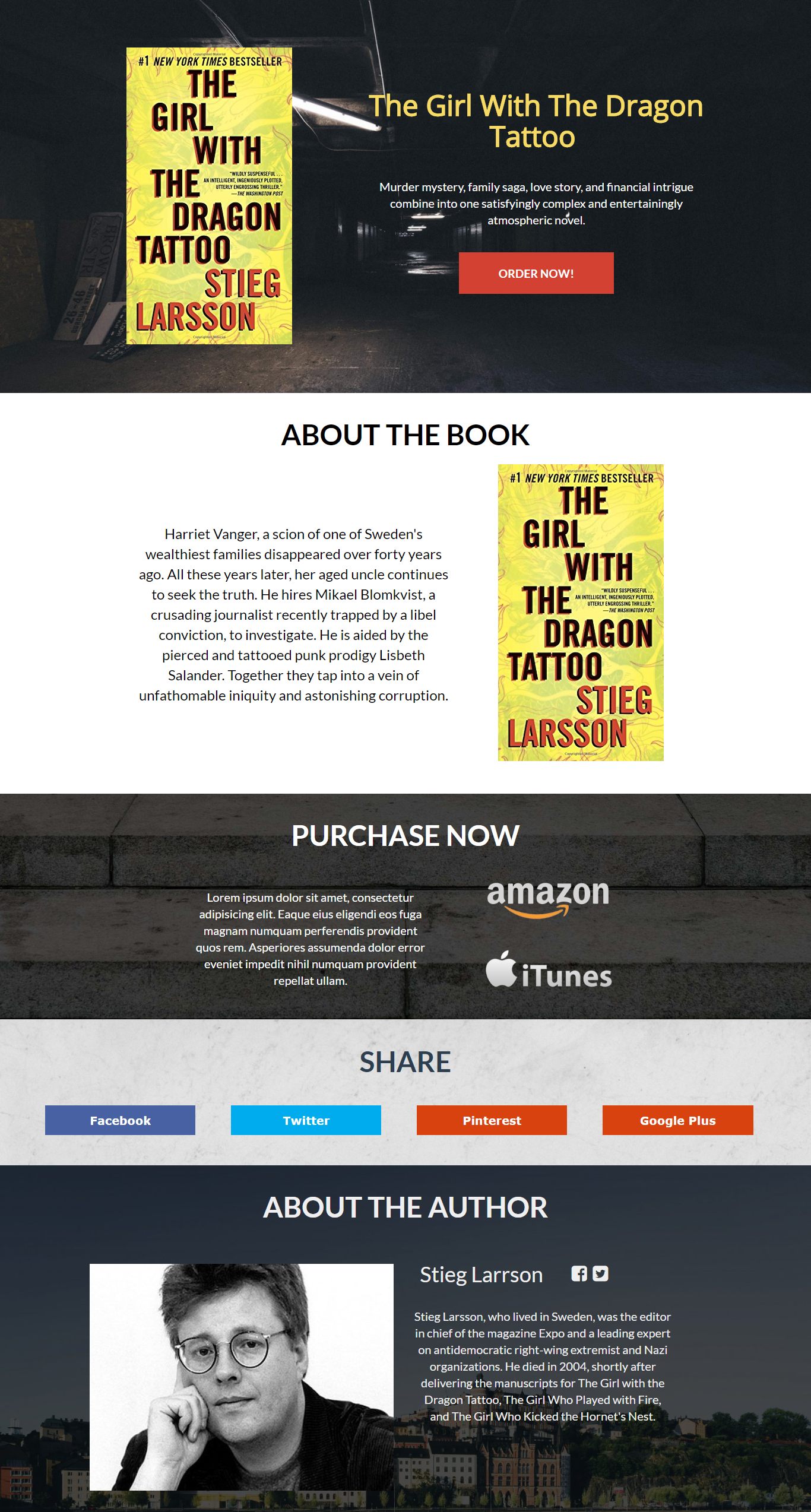 Dragon Tattoo Landing Page Template