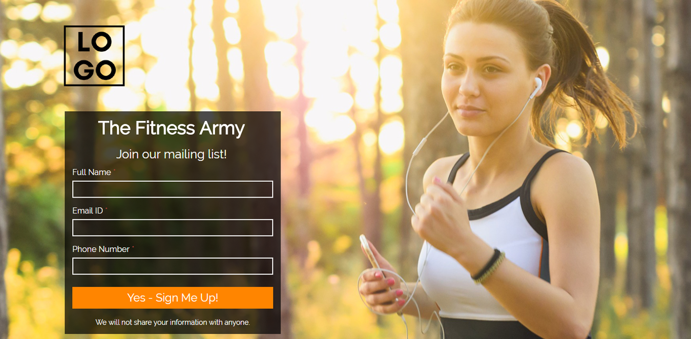 Fitness for Life Landing Page Template