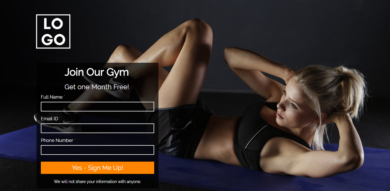 Gym Membership Landing Page Template