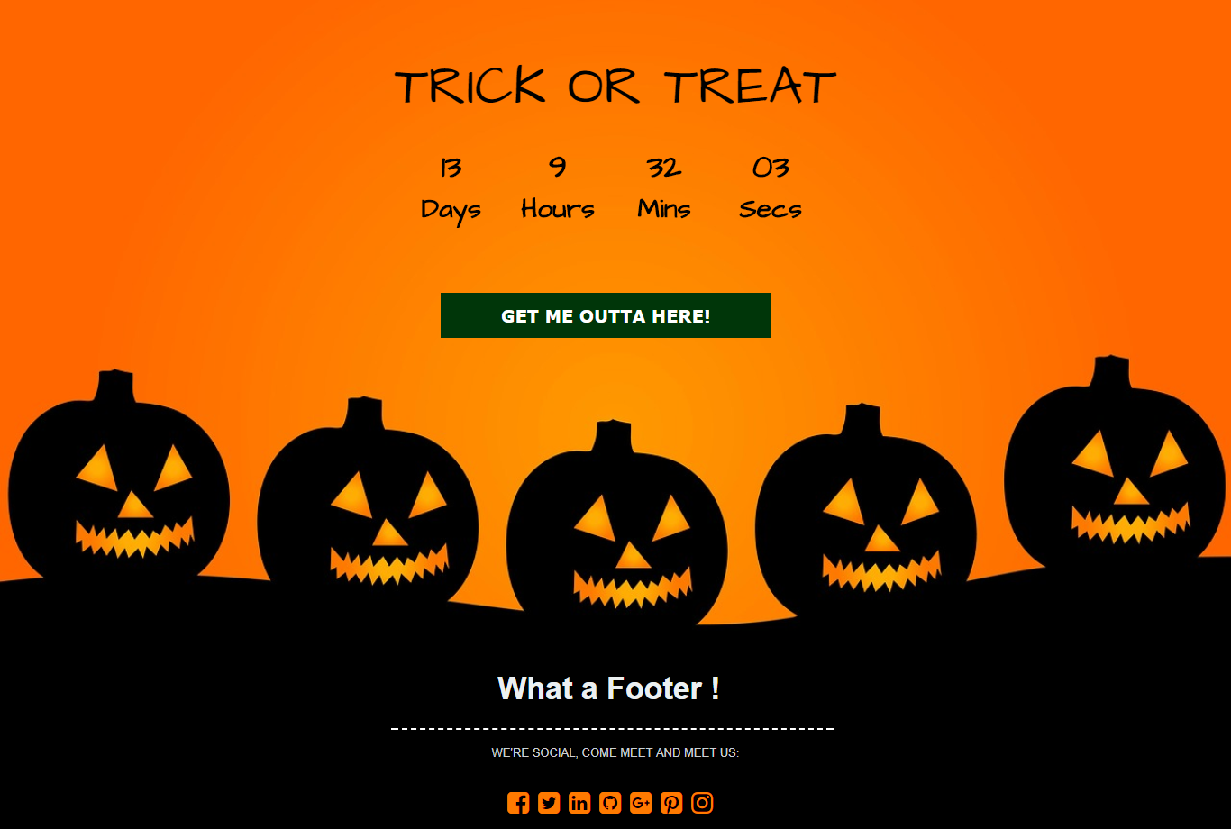 Halloween Countdown Landing Page Template