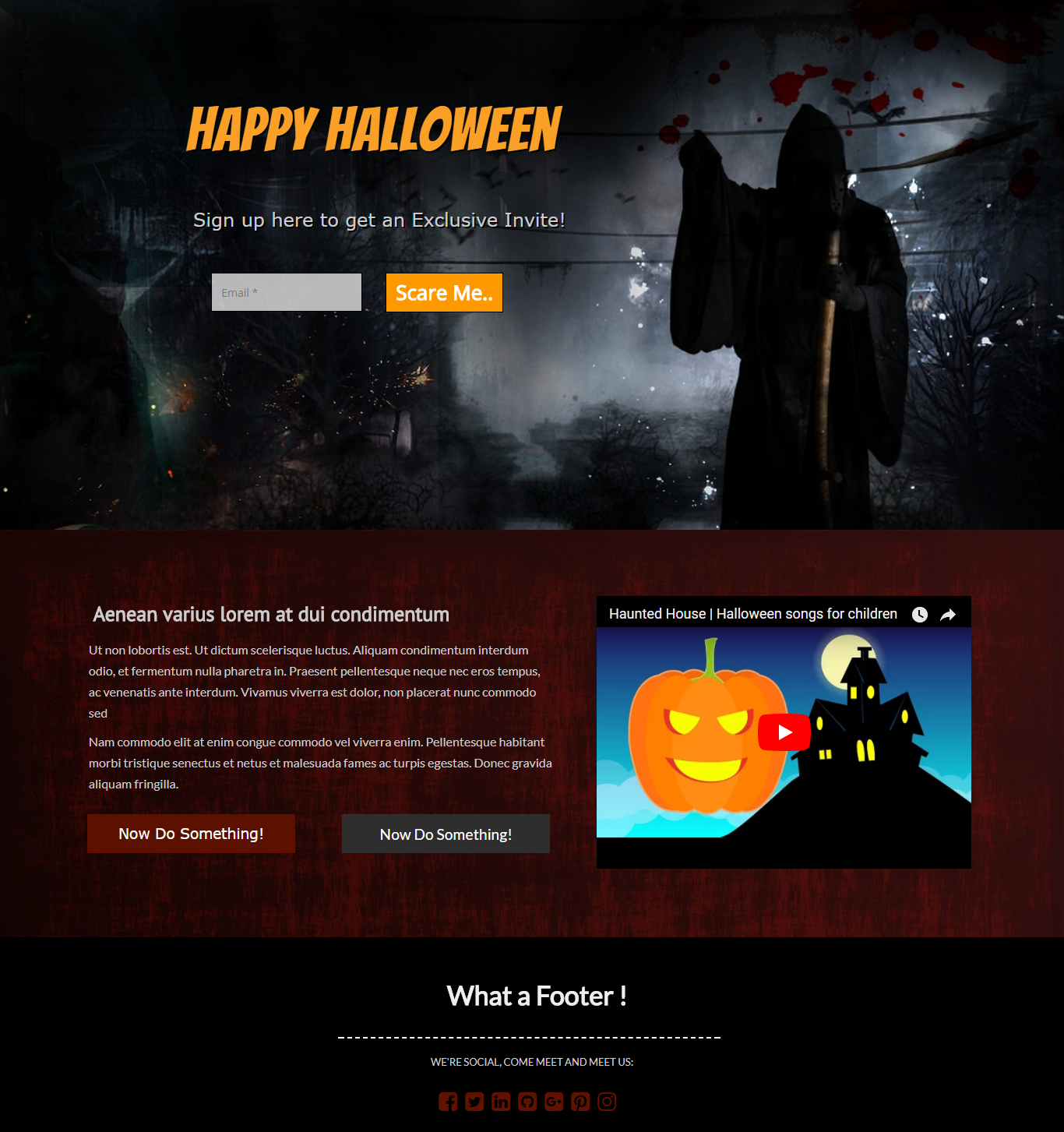 Halloween Ghost Landing Page Template