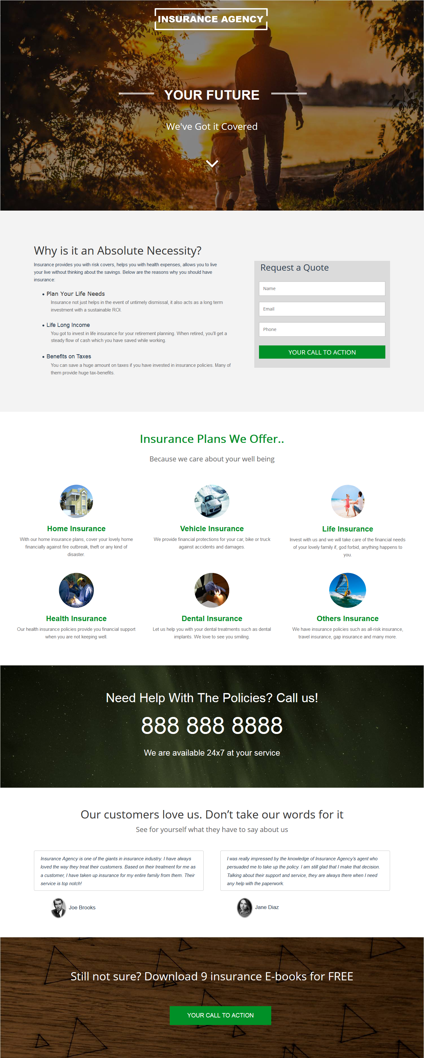 Insurance Agency Landing Page Template