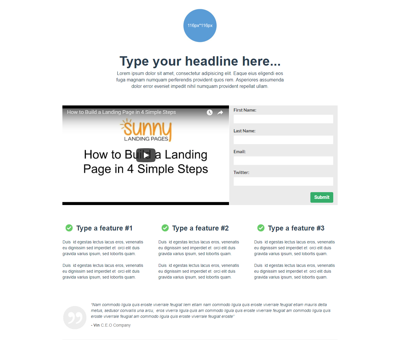 Mini 5 Landing Page Template