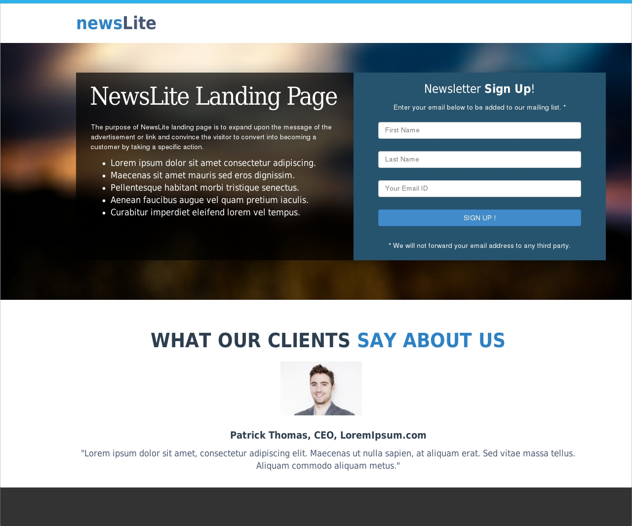 Newsletter Box Landing Page Template
