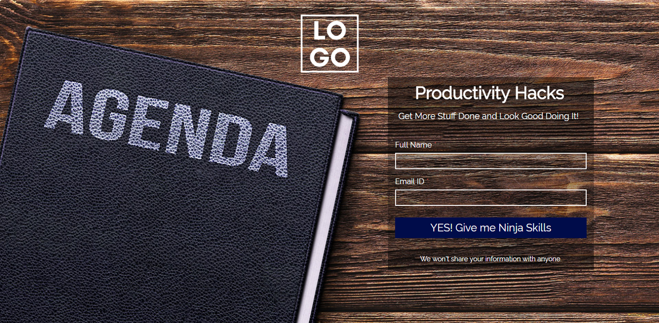Productivity Hacks Landing Page Template