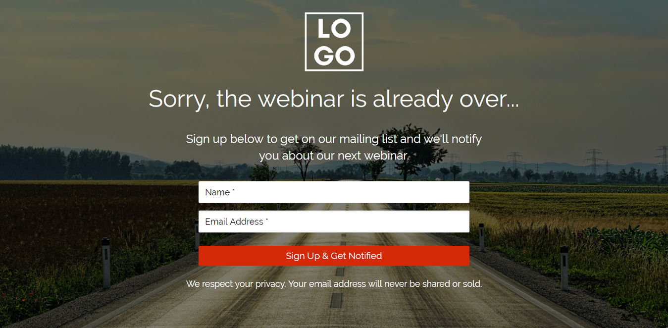 Sorry Webinar Over Landing Page Template