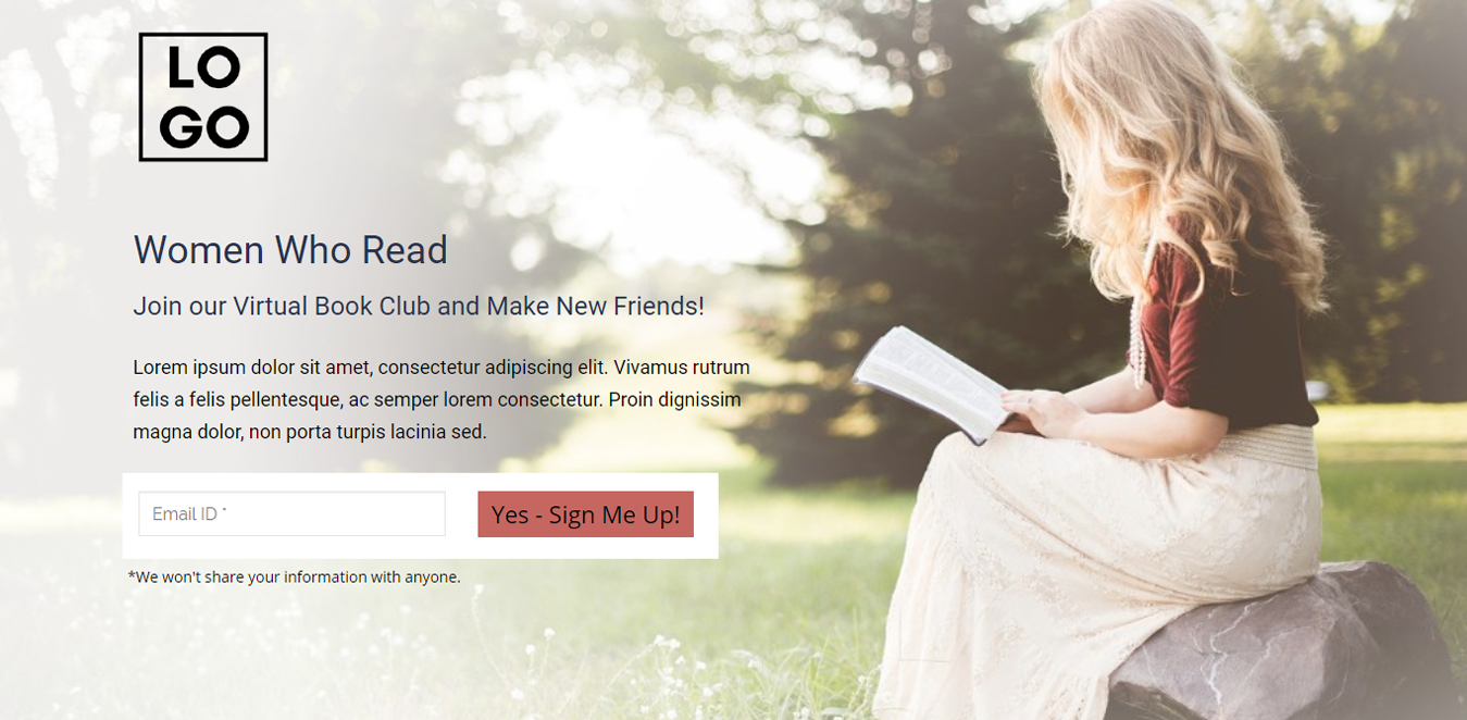Women Who Read Landing Page Template