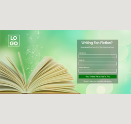 Writing Fan Fiction Landing Page Template