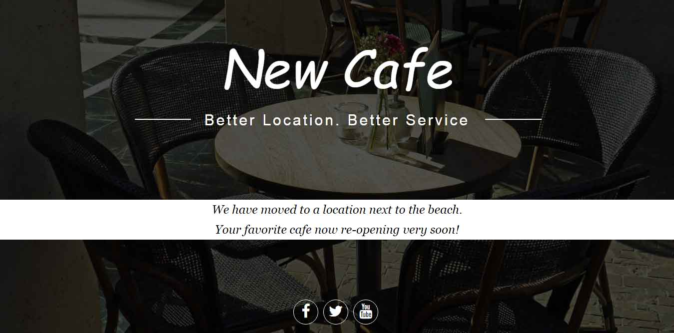 New Cafe Landing Page Template