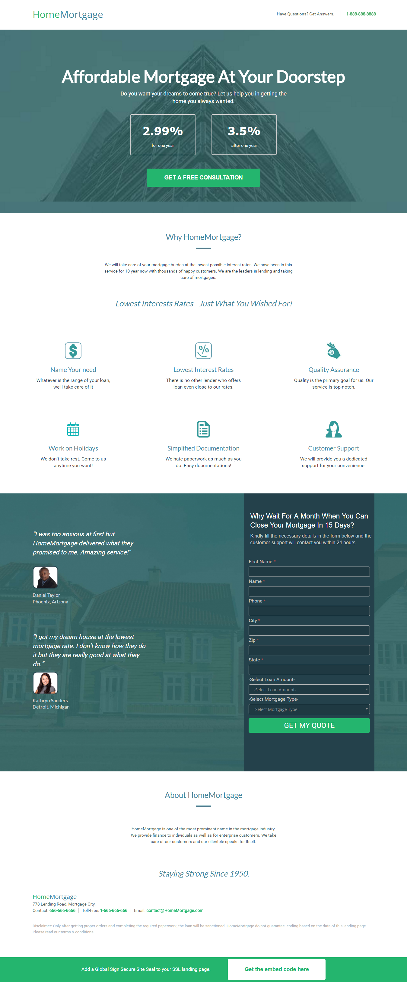 Home Mortgage Landing Page Template