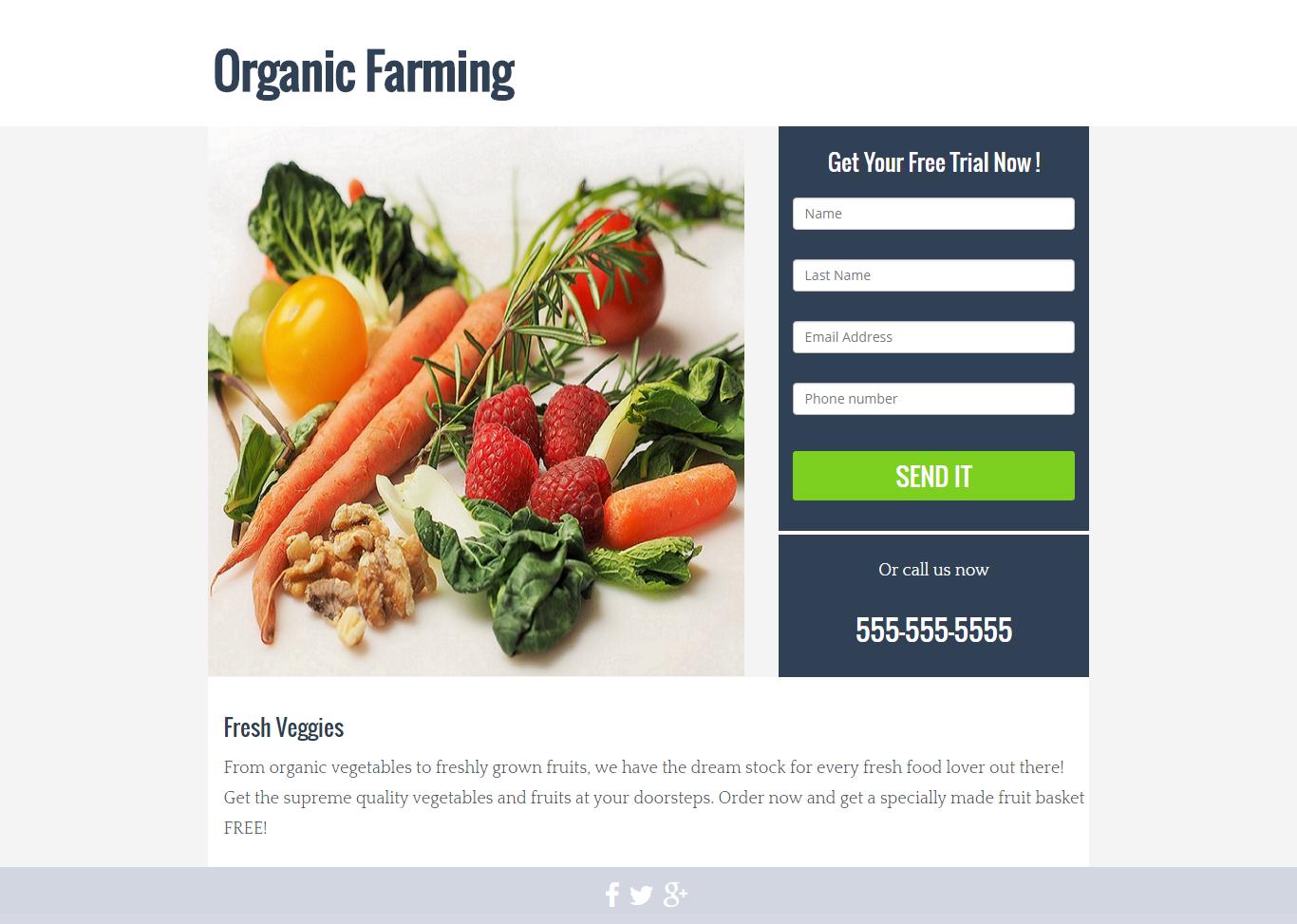 Organic Farming Landing Page Template